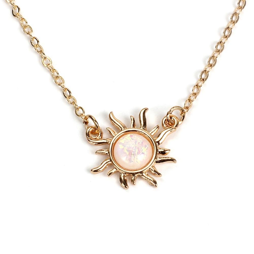 Fashion Female Sun Pendant Choker Necklace Silver & Gold  Color Chain Creative Sun Stone Necklace Jewelry