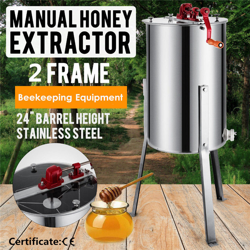 Goplus Large 2 Frame Manual Honey Extractor Beekeeping Equipment Food Grade Stainless Steel Durable Silver Clear Plexigla Top 6 frames reversible honey extractor for bee keeping