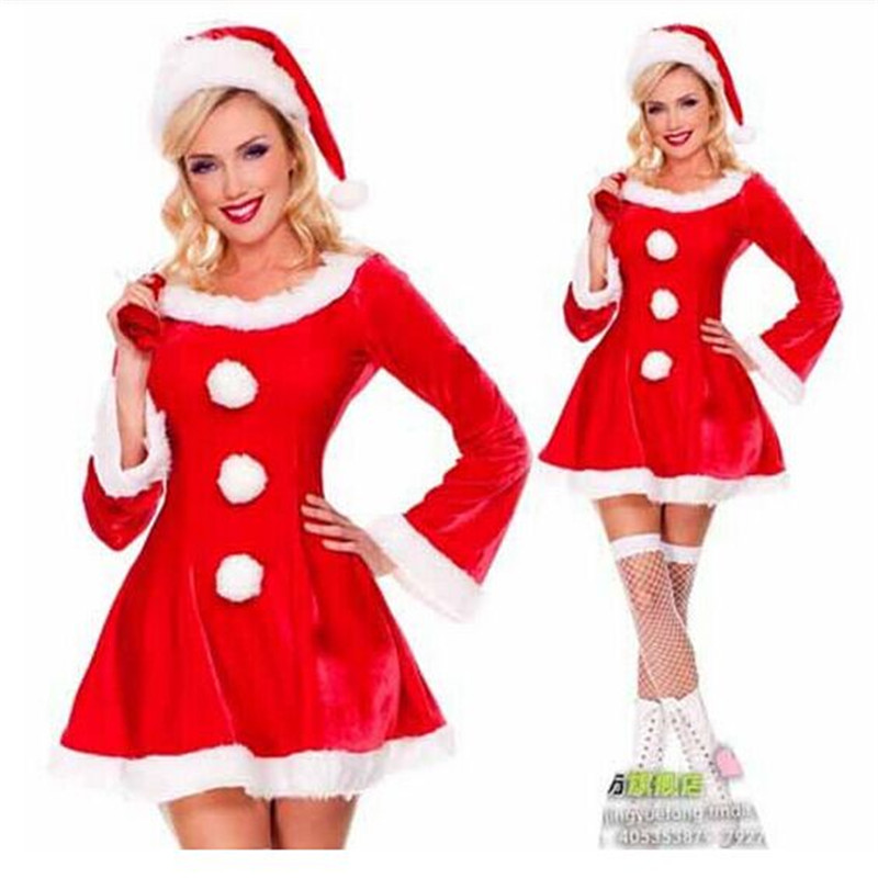 2018 high quality sexy Christmas red velvet long-sleeved dress uniforms 3-piece set: hat + dress + Bag Christmas Party costume