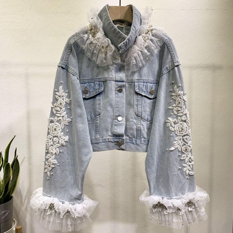 New Fashion Pearls Bead Diamonds Lace Luxury Short Design Denim Jacket Coat Women High Waist Cowboy Coats Streetwear CC201