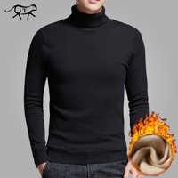 Tout nouveau Pull à col roulé décontracté hommes pulls épais chaud automne mode Style chandail mâle solide Slim Fit tricots Pull manteau