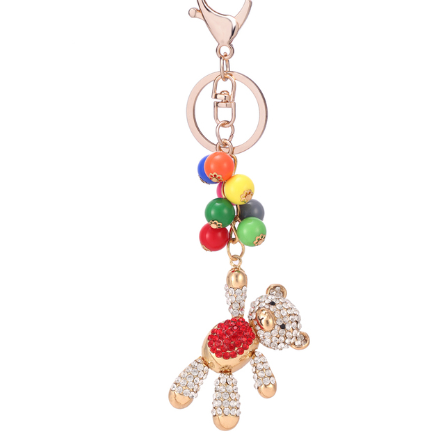 2de0780594989 Rhinestone Colorful Beads Bear Keychains Animal Car Keyring Charm Handbag  Key Chain Ring Holder Unisex Bag