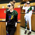 Sequins Sportwear Pullover European And American Casual Style Tracksuit Long Sleeve Fashion Hoodies Two-piece O-neck Playsuit