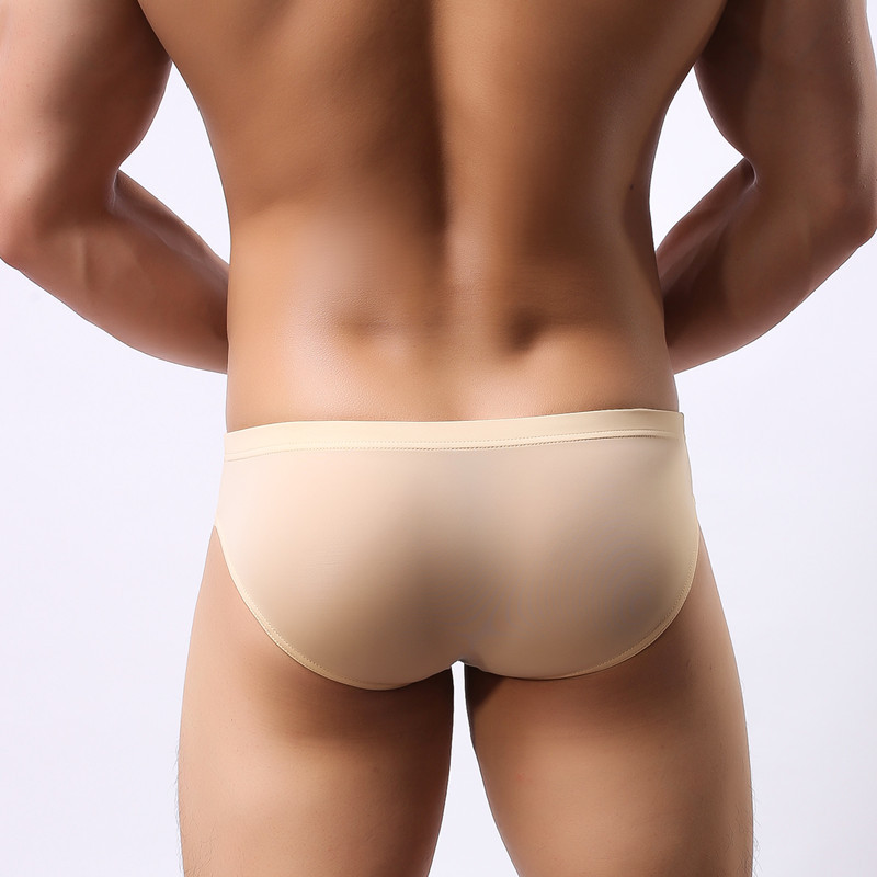 Men's underwear head U convex pocket ultra-thin transparent ice silk men's briefs fork low waist small three pants sexy shorts(China)