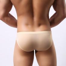 Męska bielizna głowa U wypukła kieszeń ultra-cienki przezroczysty lodowy jedwab majtki męskie widelec niskiej talii małe trzy spodnie seksowne szorty tanie tanio Figi Mężczyźni Modalne Elastan Akrylowe BONJEAN 1642 Stałe