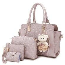Moda Impreso Bolso de Las Mujeres + Mensaje + Carpeta + soporte de la Tarjeta de Lujo de LA PU de Cuero Crossbody Bag Set borsa donna marca famosa