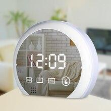 LED Touch Mirror Alarm Clock Temperture Digital Desk Snooze Function Temperature Display RGB Color Light