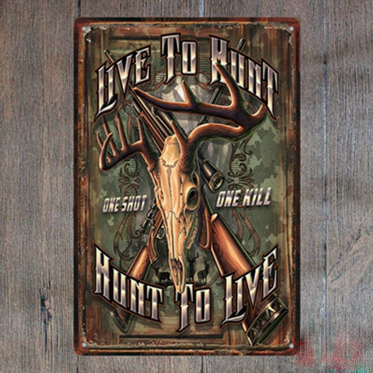 1 piece hunting to live gun shot Tin Plate Sign wall Room man cave Decoration Art Dropshipping Poster metal ...