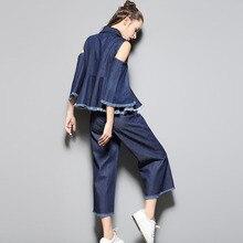 2017 Spring Designer Runway Sets Women's Two Piece Clothing Set Flare Sleeve Off Shoulder Denim Shirt and Pants Suit Sets