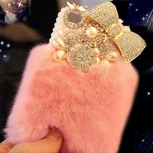 Bling Crystal Fluffy Rabbit Fur Case Winter Soft Crystal Case Bling Crystal Fur Shell for Iphone4S 5S 5C 6/6PLUS 7/7PLUS