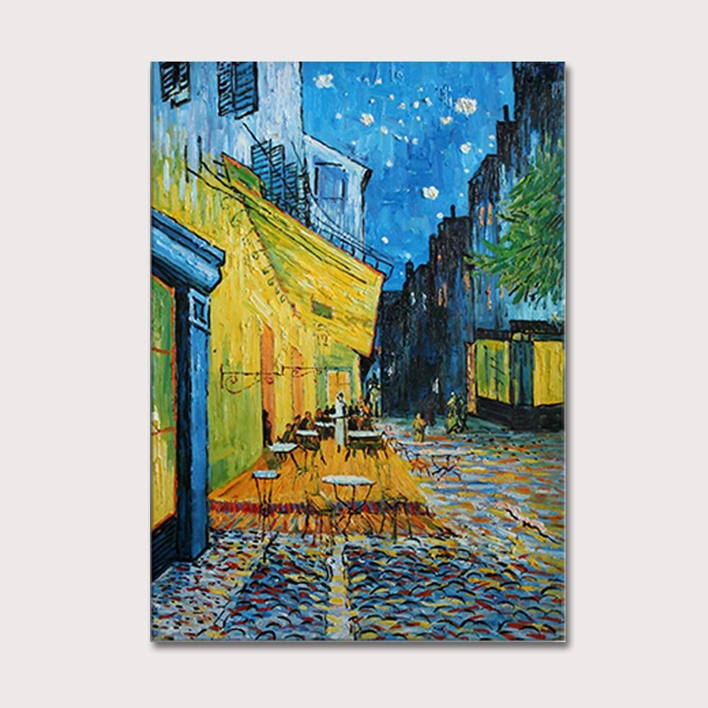 ٩(^‿^)۶main bre peinture huile caf terrasse la nuit Van Gogh sur toile  abstraite coration murale image CM - w604