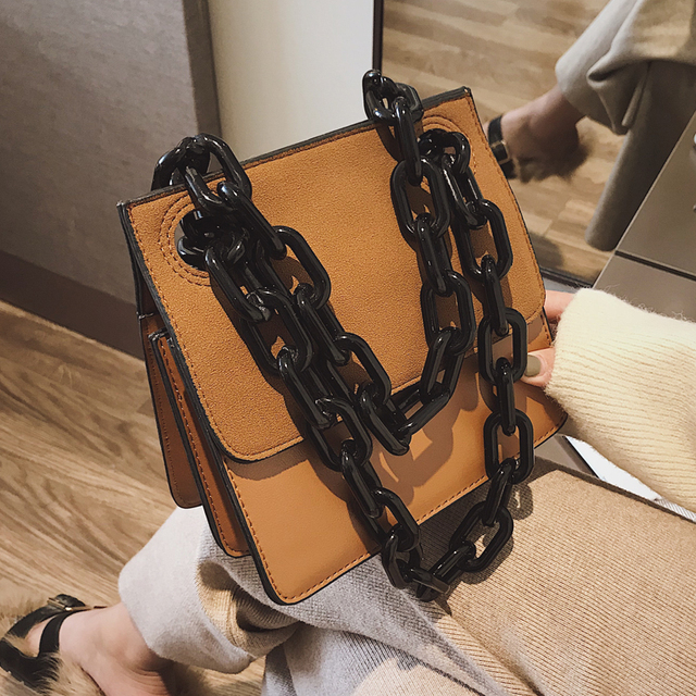 6383133bf960 BENVICHED Ladies  Grind bag 2019 winter women fashion chain red handbag  Inclined single shoulder bag small square bag c276