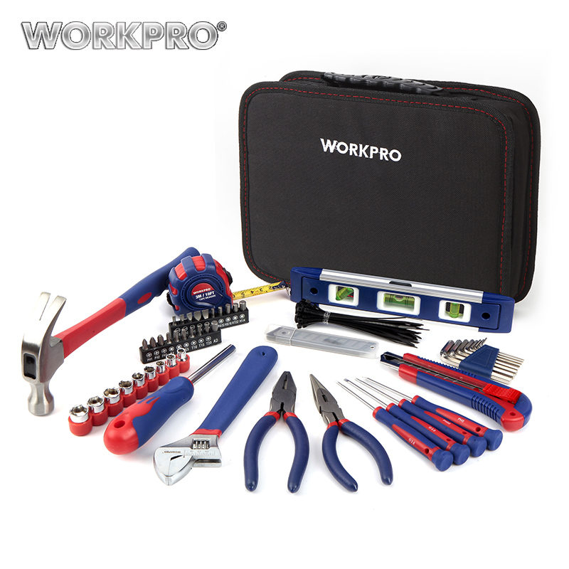 WORKPRO 100PC Tool Set Hand Tools Household Tool Set Home Tools Knife Pliers Screwdrivers Sockets Wrenches