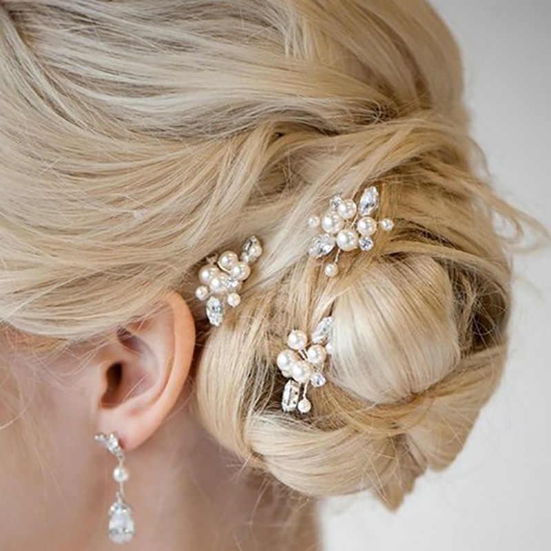 אופנה פנינת פרח U שיער קליפ שיער מסרק לנשים קריסטל ריינסטון כלה שיער מקלות שיער אביזרי חתונה תכשיטים