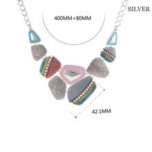 2017 Fashion Ethnic Vintage Antique Silver Plated Colorful Enameling Geometric Pendants Choker Statement  Necklaces Bijoux