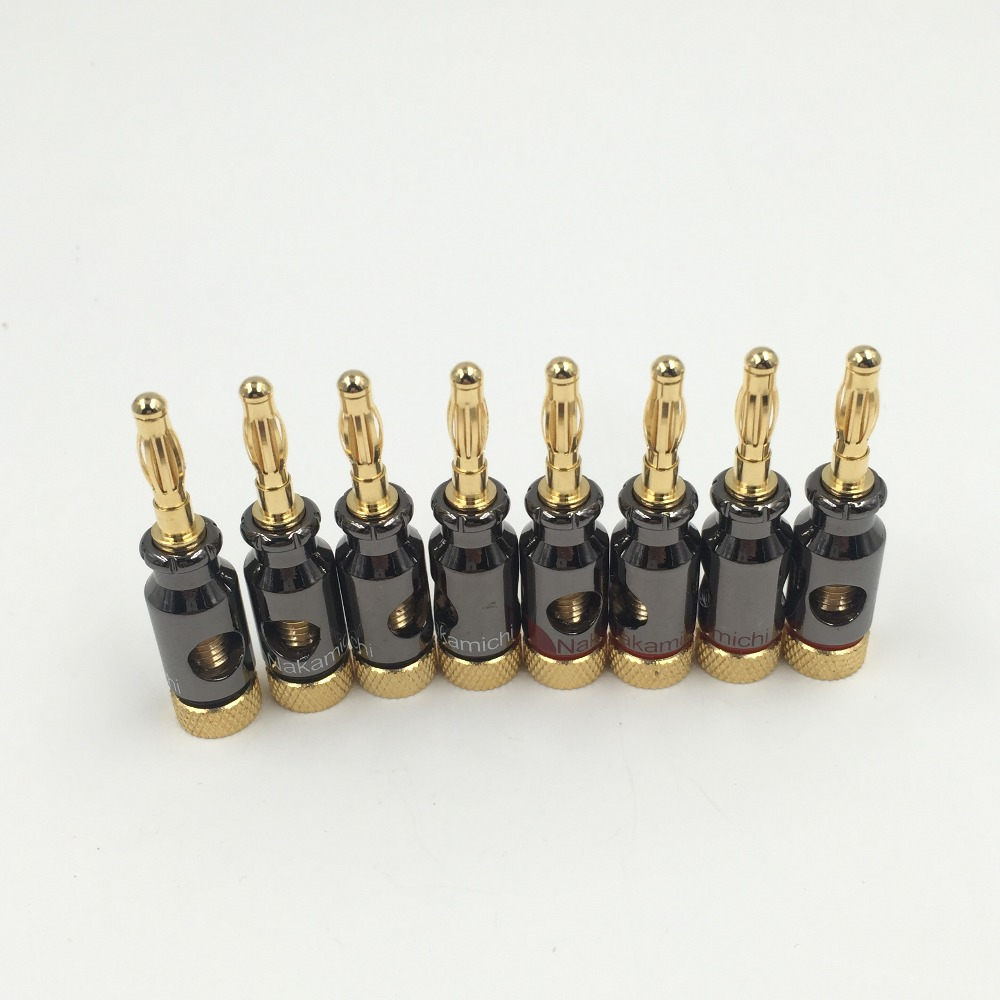 12Pcs Nakamichi 4mm Banana Plug Spiral Type 24K Gold Screw Stereo Speaker Audio Copper Terminal Adapter Electronic Connector audio speaker cable wire 4mm banana plug connector adapter black red 5 pairs