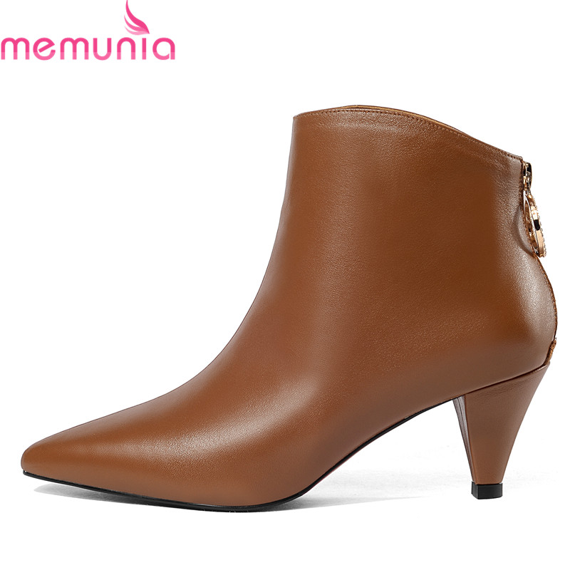 MEMUNIA 2018 genuine leather ankle boots for women pointed toe autumn winter boots simple zipper elegant high heels dress shoes 2018 new arrival genuine leather zipper runway autumn winter boots round toe high heels keep warm elegant women ankle boots l29
