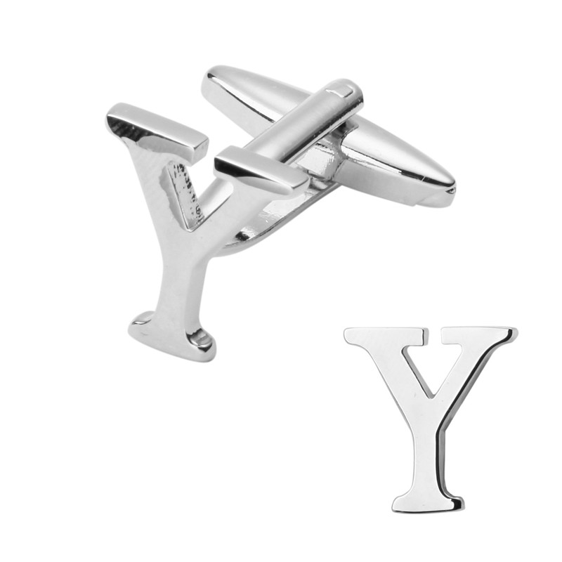 A pair of high quality silver letter Y Cufflinks design men s shirt cuff brass Cufflinks