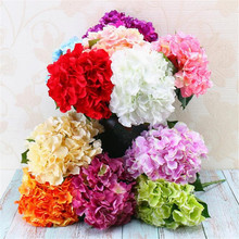 7pcs  Artificial Hydrangea Bunch Flower five heads flower stems for Wedding centerpieces Home Office Table Decoration