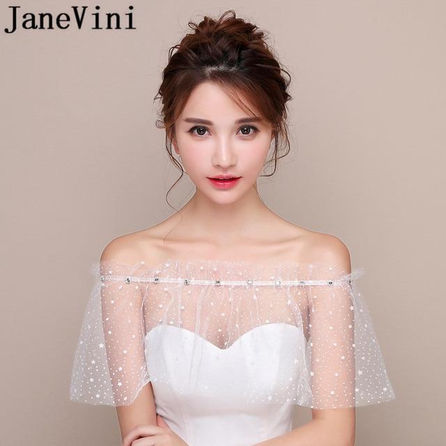 JaneVini białe gwiazdy lato ślub Wrap Mariage Off ramię zroszony dziewczyny Bolero czarny krótki Bridal Cape Lae Up kobiety kurtka