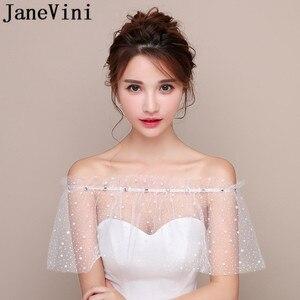Image 1 - JaneVini blanco estrellas verano boda envoltura Mariage con cuentas hombros caídos chicas Bolero Zunt corto nupcial Cape Lae Up chaqueta de las mujeres