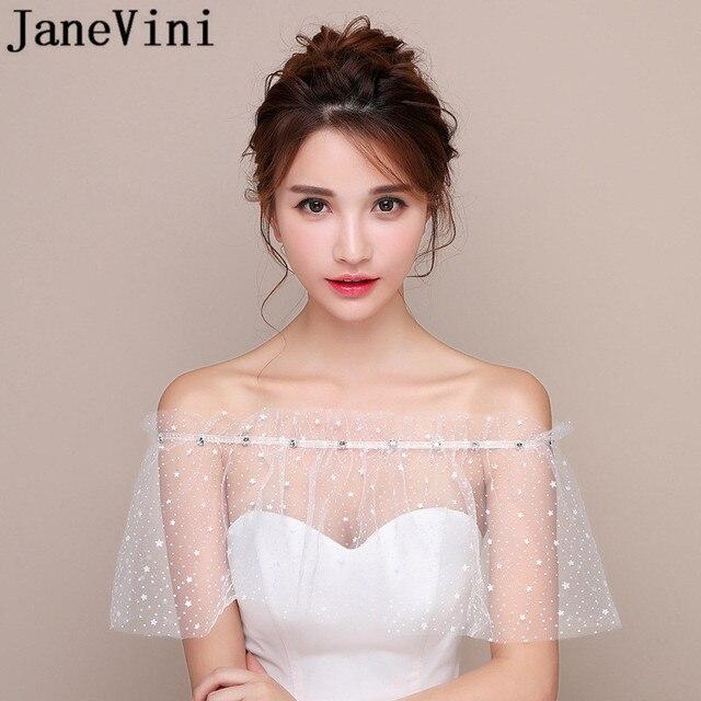 JaneVini blanco estrellas verano boda envoltura Mariage con cuentas hombros caídos chicas Bolero Zunt corto nupcial Cape Lae Up chaqueta de las mujeres