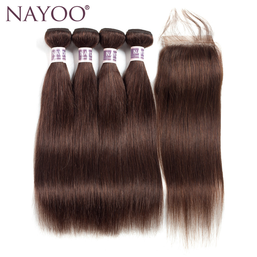 NAYOO Dark Brown Straight Brazilian Hair Bundles With Closure #2 Non-remy 100% Human Hair Weave 4 Bundles With Closure