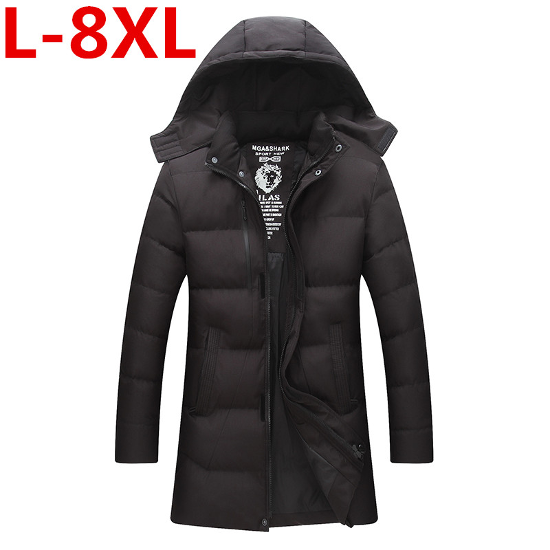 2017 New large size 8XL 7XL Fashion Winter Jacket Men Hooded Warm Coats Parkas Men Thick Long Solid Zipper Men's Winter Jackets 2017 new fashion winter jacket men hooded warm coats parkas men thick long solid zipper men s winter jackets plus size 7xl 8xl