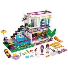 619Pcs 2016 NEW Bela 10498 Friends Series Livi's Pop Star House Building Blocks Livi Andrea mini-doll figures Toy Legoed