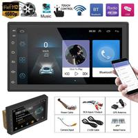 7 2 Din Touch Screen Android Car Stereo MP5 Player Mirror Link Video Audio Player lBluetooth WiFi GPS Navigation AM/FM Radio