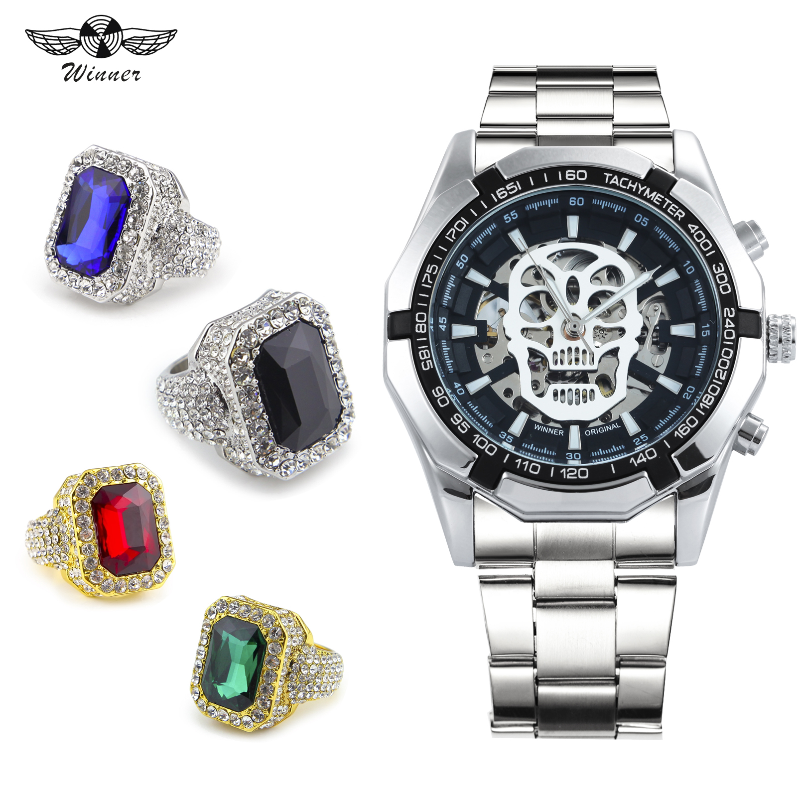 WINNER officiel Hip Hop montre ensemble de bijoux lumineux crâne Auto mécanique Punk montre hommes Top marque de luxe + anneau de cristal glacé