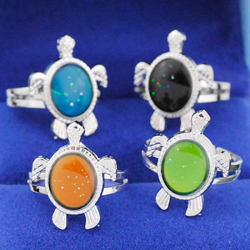 Temperature Adjustable Turtle Ring Finger Rings Changing Mood Rings Changeable