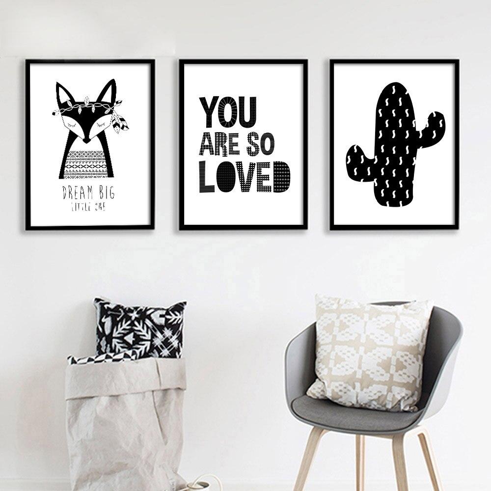US $39.99 50% OFF|Schwarz Weiß Fuchs Kaktus Leinwand Poster Nordic  Minimalistische Wandkunst Malerei Drucken Bild Kinder Schlafzimmer Dekor-in  Malerei ...