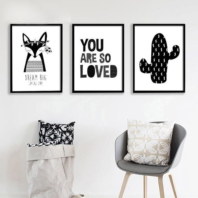 Schwarz Weiß Fuchs Kaktus Leinwand Poster Nordic Minimalistische Wandkunst  Malerei Drucken Bild Kinder Schlafzimmer Dekor