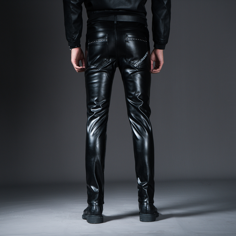 New Winter Spring Men's Skinny Leather Pants Fashion Faux Leather Trousers For Male Trouser Stage Club Wear Biker Pants 32