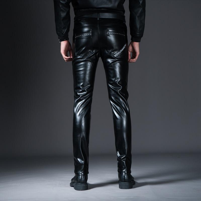 HTB1Z7ldX.rrK1RkSne1q6ArVVXaV New Winter Spring Men's Skinny Leather Pants Fashion Faux Leather Trousers For Male Trouser Stage Club Wear Biker Pants