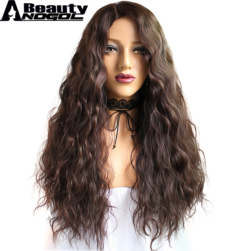 ANOGOL BEAUTY High Tempaerature Fiber Water Cabelo Long Deep Wave Dark Brown Moana Synthetic Cosplay Wig For Halloween Costume