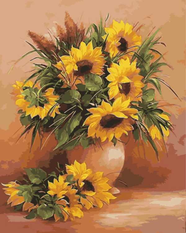 Çerçevesiz diy resim sergisi sayılar tarafından çiçek duvar dekor diy resim yağlıboya ev dekor için tuval üzerine 4050 cm ayçiçeği