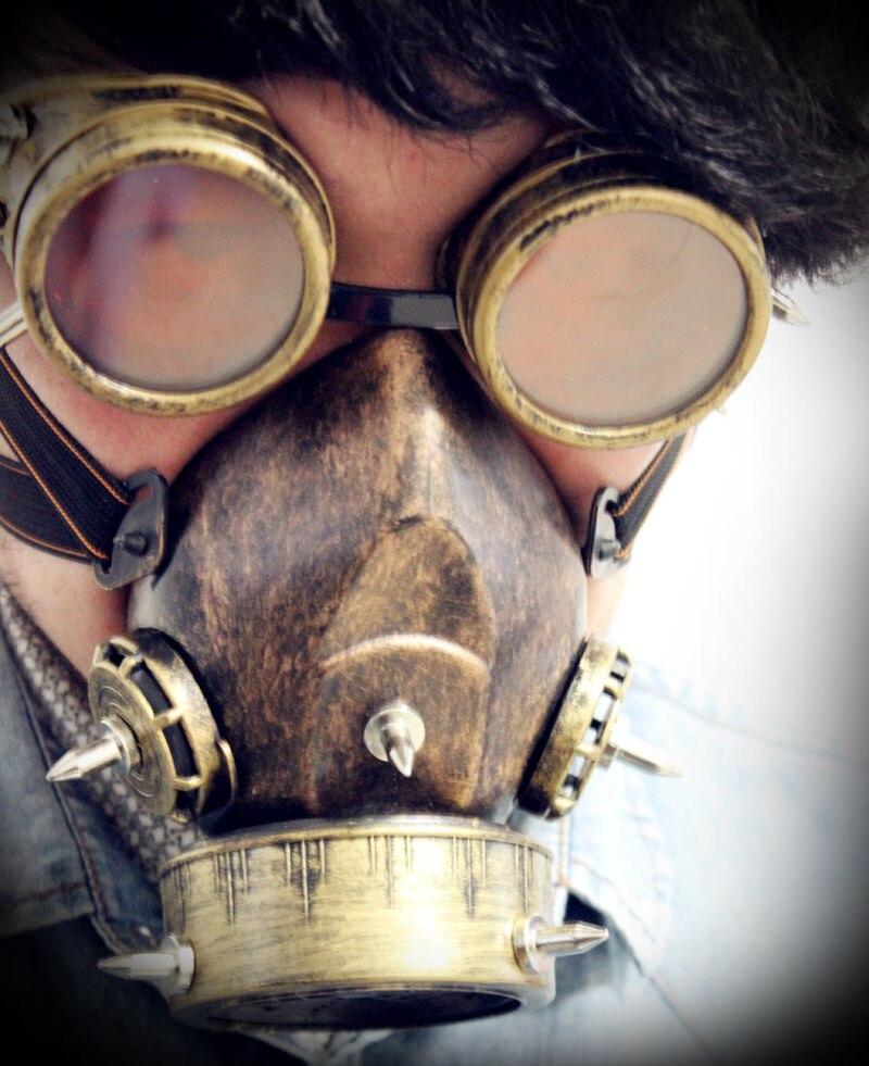 2018 Retro Metal Men Masks Punk Military Goggles Gas Mask Cosplay