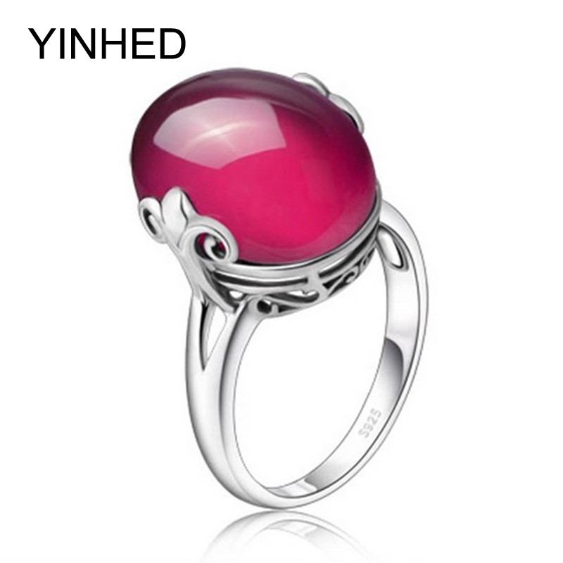 YINHED Luxury Big Red Corundum Rings for Women Gift 100 925 Sterling Silver Wedding Ring Synthetic