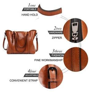 Image 4 - Женская сумка из кожи с воском, роскошная женская сумочка с карманом для кошелька, женская сумка мессенджер, большая женская сумка тоут