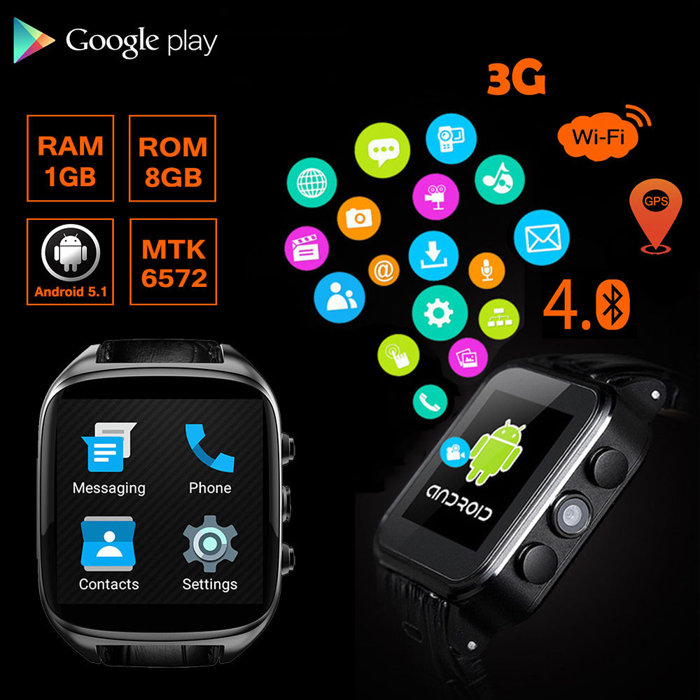 Black X01S 8GB Smart Watch Android Phone Relogios Watch Fitness Tracker Camera GPS Wifi 3G WCDMA Google Playstore Bluetooth adult smart watch phone for men 3g android watch with gps google play bluetooth men watch camera pk gt08 smart watch