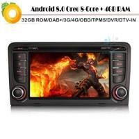 Android 8.0 Autoradio Octa Core DAB+ Car CD player for AUDI A3 S3 Sat Navi WiFi 4G GPS Radio BT USB SD DVR OBD2 DVT IN Bluetooth