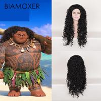 Biamoxer 2018 New Arrival Film Moana Prince Maui Black Fluffy Long Hair Cosplay Curly Wigs With Hair Net Maui Costume Hair Wig