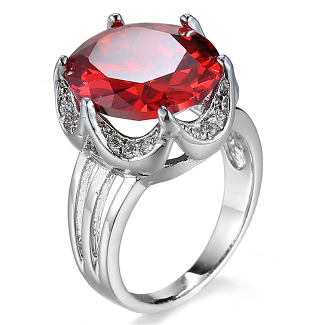 South Africa Wedding Ring For Women Classic White Gold Color 1ct Top CZ Stone Finger