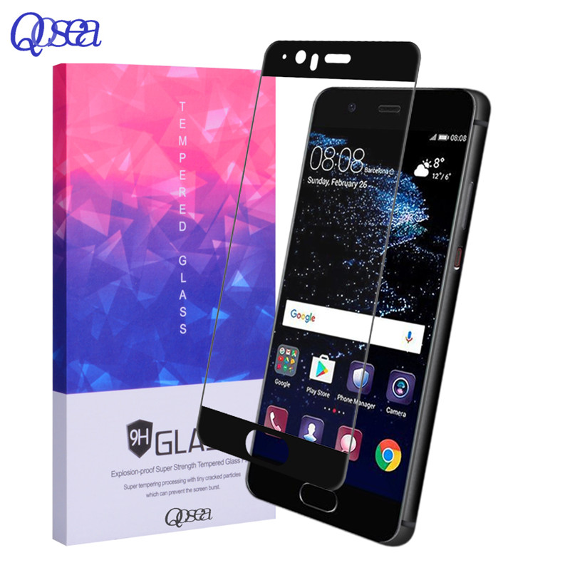 Qosea NEW For Huawei P10 PLUS Tempered Glass 9H Electroplated 3D Front Full Film Case For Huawei P 10 P10 lite Screen Protector