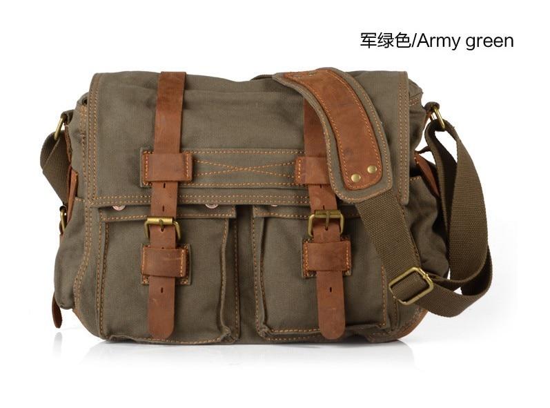 Men Vintage Canvas Leather Shoulder Military Messenger Satchel School Work Bag