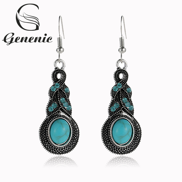 New 1 Pair Vintage Blue Beaded Crystal Drop Earrings Bohemian Personality Stone Pendant  Earrings  for Women Wedding Jewelry