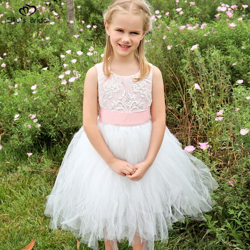 Ellies Bridal New Beading Princess Party Tulle Ball Gown Flower Girl Dress Patterns Ruffles Sash Wedding Dress for Kids Children 4pcs new for ball uff bes m18mg noc80b s04g