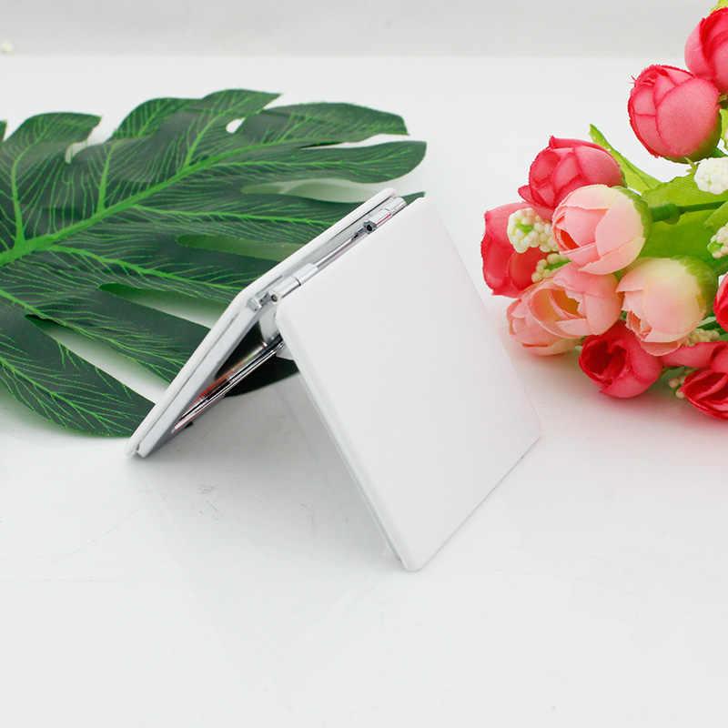 JWEIJIAO جميلة الزهور بوعاء مصنع الطيور الصورة مرآة جيب مصغرة للطي مربع 1X/2X المكبرة بو الجلود مرآة لوضع مساحيق التجميل